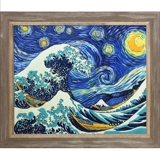 La Pastiche Original 'Starry Night Wave Collage' Hand Painted Framed Oil Reproduction on Canvas