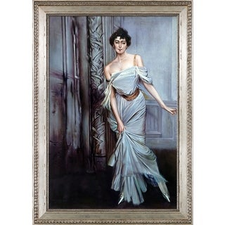 Giovanni Boldini 'Madame Charles Max, 1896' Hand Painted Framed Oil Reproduction on Canvas