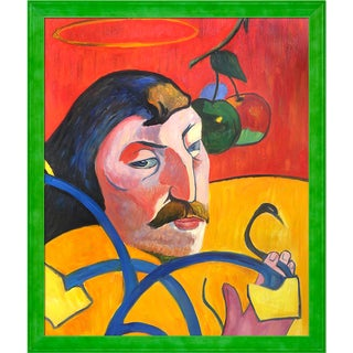 Paul Gauguin 'Self Portrait with Halo, 1889' Hand Painted Framed Oil Reproduction on Canvas