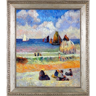 Paul Gauguin 'Bathing, Dieppe, 1885' Hand Painted Framed Oil Reproduction on Canvas