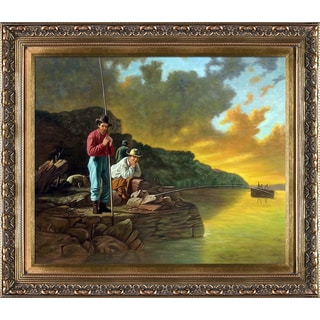 George Caleb Bingham 'Fishing on the Mississippi, 1851' Hand Painted Framed Oil Reproduction on Canvas