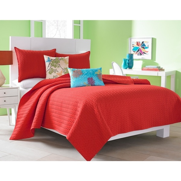 Five Queens Court Catori Tomato Red Coverlet