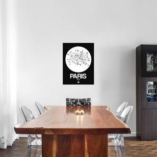 NAXART Studio 'Paris White Subway Map' Stretched Canvas Wall Art