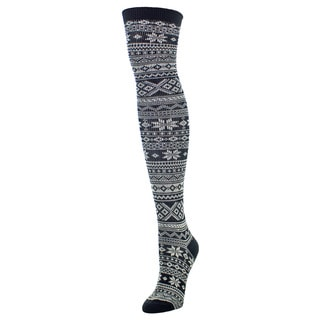 MeMoi Women's Snow Flakes and Stripes Acrylic and Spandex Over-the-knee Socks