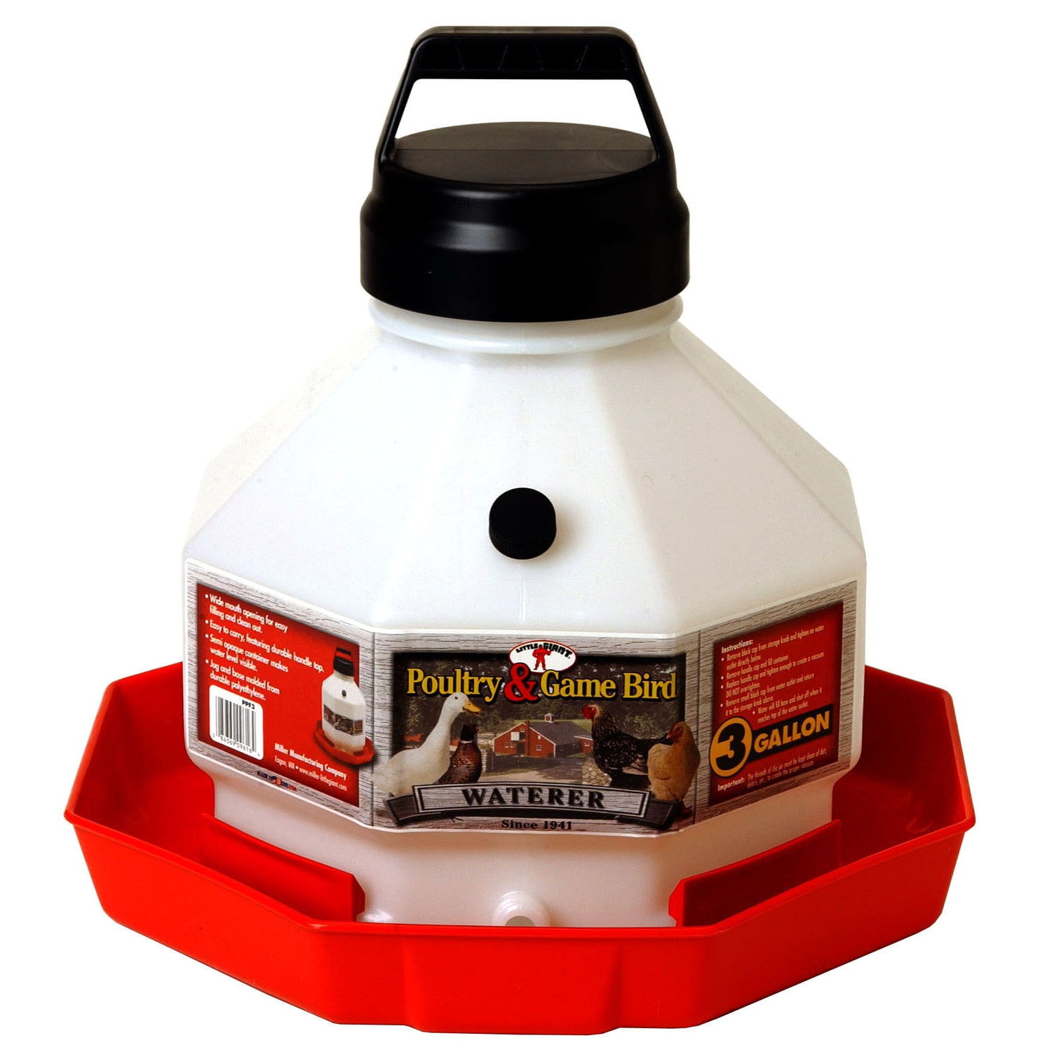 Miller Little Giant Farm & Ag 3 Gallon Plastic Poultry Fo...
