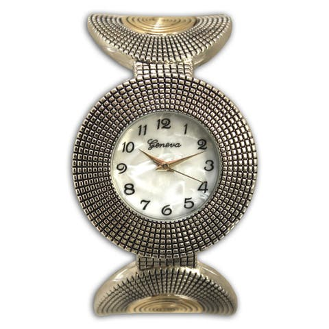 Olivia Pratt Stainless Steel Circular Pattern Cuff Watch