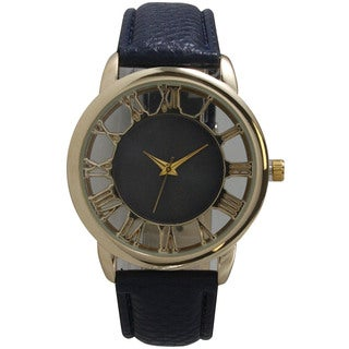 Olivia Pratt See-Through Roman Numerals Leather Watch