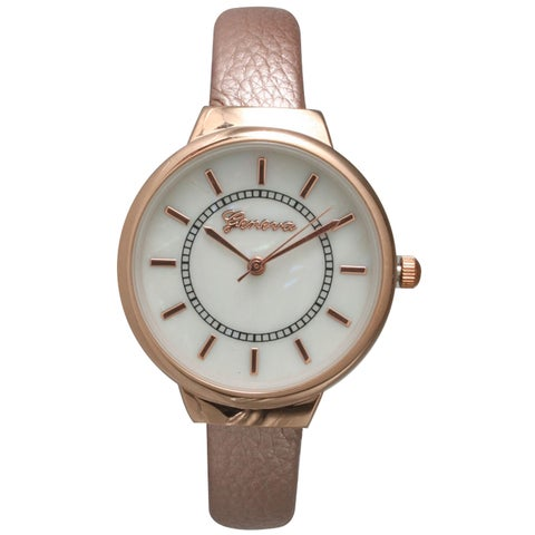 Olivia Pratt Modern Metallic Petite Leather Bangle Watch