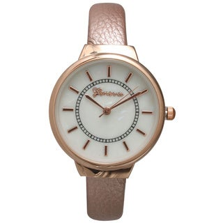 Olivia Pratt Modern Metallic Petite Leather Bangle Watch
