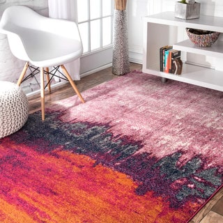 nuLOOM Contemporary Abstract Pink Rug (9' x 12')