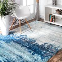 nuLOOM Contemporary Abstract Blue Rug - 8' x 10'