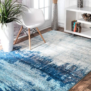 nuLOOM Contemporary Abstract Blue Rug (4' x 6')