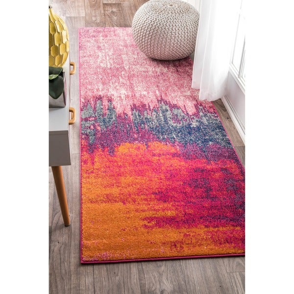 """nuLOOM Contemporary Abstract Pink Runner Rug (2'8 x 8') - 2'8"""" x 8' runner"""