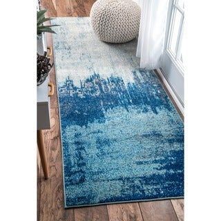 nuLOOM Contemporary Abstract Blue Runner Rug (2'8 x 8')
