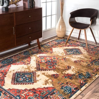 nuLOOM Traditional Inspired Overdyed Tribal Diamond Beige Rug (5' x 8')