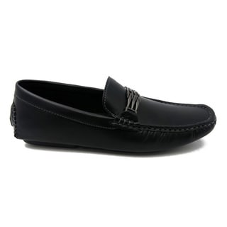 Mecca Mens Black Faux Leather Slip-On Loafer Driver Shoes