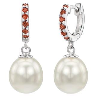 DaVonna Sterling Silver 9-9.5mm White Freshwater Cultured Pearl 1.75mm Red Garnet Dangle Earrings