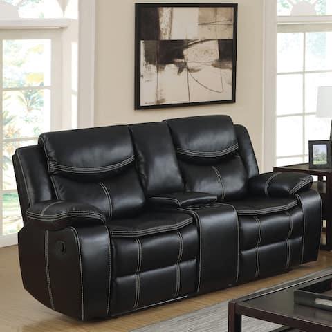 Furniture of America Bram Black Loveseat with Storage Console