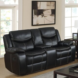 Furniture of America Brigger Transitional Black Breathable Leatherette Loveseat with Storage Console