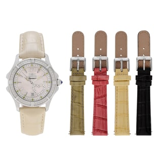 Invicta Women's 7475 'Signature' Stainless Steel Mother of Pearl Dial Leather Strap Watch Set