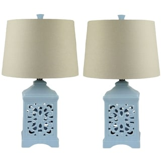 Light Blue Ceramic Table Lamp (Set of 2)