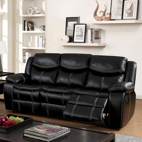 Furniture of America Bram Transitional Black Reclining Sofa