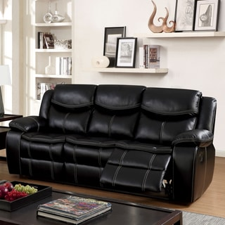 Furniture of America Brigger Transitional Black Breathable Leatherette Sofa