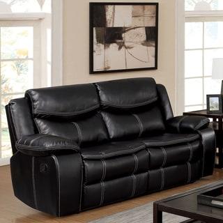 Furniture of America Brigger Transitional Black Breathable Leatherette Loveseat