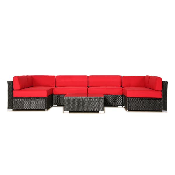 BroyerK Cushion Covers for 7pcs outdoor sofa rattan set red (Covers Only)