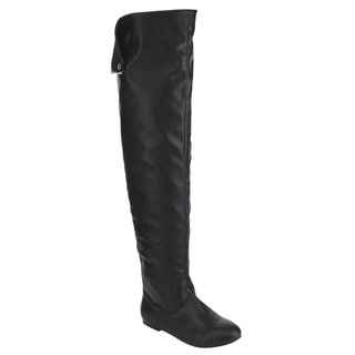 NATURE BREEZE FE61 Women Snap Cuff Over The Knee Flat Heel Boots Size 7.5 (As Is Item)