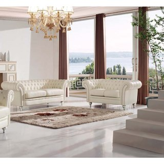 Luca Home Tufted Ivory Leather 2-Piece Sofa Set