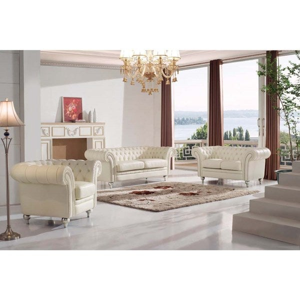Shop Luca Home Tufted Ivory Leather 3 Piece Living Room