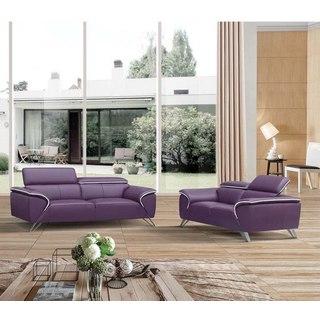 Luca Home Purple Leather 2-Piece Sofa Set