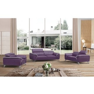 Luca Home Purple Leather 3 Piece Living Room Set