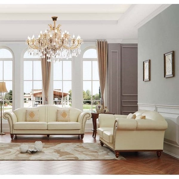 Shop Luca Home Off White Leather 2 Piece Sofa Set Free Shipping