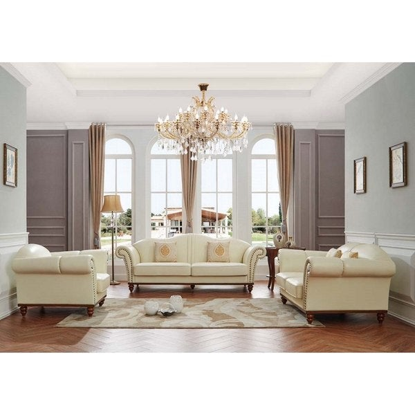 Shop Luca Home Off-White Leather 3-Piece Living Room Set