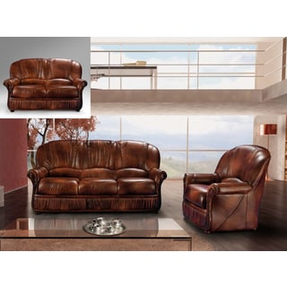 Luca Home Brown Leather 3-Piece Sofa Set