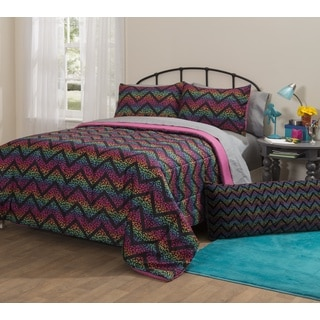 Latitude Ombre Cheetah Chevron 7-piece Bed in a Bag with Sheet Set