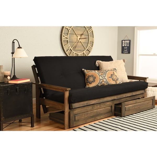 Somette Black Twill Coil Hinged Futon Mattress