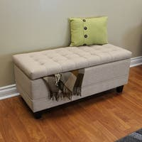 Clay Alder Home Harrison Beige Linen Wood 42-inch Ottoman Bench