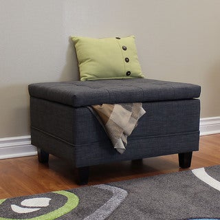 DonnieAnn Raymond 30-inch Dark Grey Tufted Fabric Ottoman