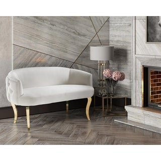 Adina White Velvet Loveseat with Gold Legs