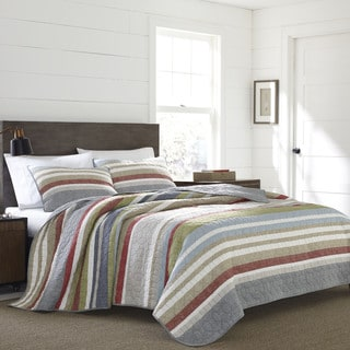 Link to Eddie Bauer Salmon Ladder Stripe 3-Piece Quilt Set Similar Items in Quilts & Coverlets