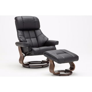 Mid Century Modern Bonded Leather Lounge Swivel and Recliner Chair with Foot Stool Ottoman
