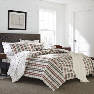 Eddie Bauer Point Permit Plaid Cotton 3-Piece Duvet Cover Set
