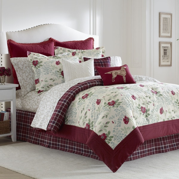 shop laura ashley ella 8 piece comforter set free. Black Bedroom Furniture Sets. Home Design Ideas
