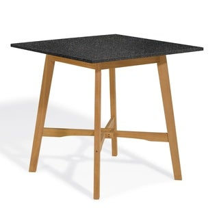 Oxford Garden Wexford 42-inch Lite-Core Granite Charcoal Bar Table with Natural Shorea