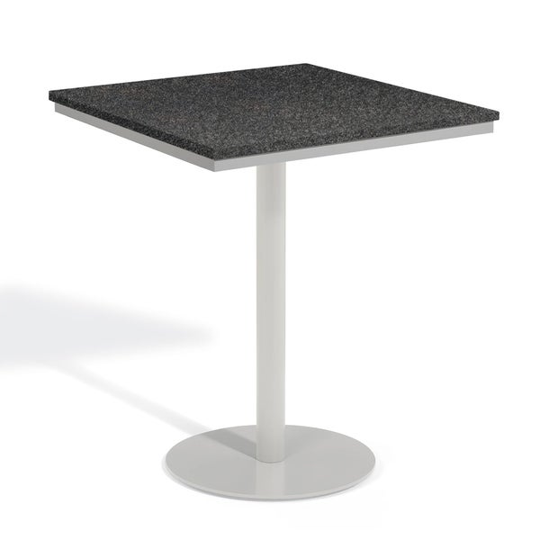 Oxford Garden Travira 36-inch Square Lite-Core Granite Charcoal Bar Table with Powder Coated Steel Frame