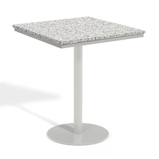 Oxford Garden Travira 36-inch Square Lite-Core Granite Ash Bar Table with Powder Coated Steel Frame