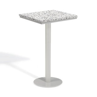 Oxford Garden Travira 24-inch Square Lite-Core Granite Ash Bar Table with Powder Coated Steel Frame